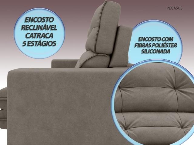 Sofá Pegasus 2,30m Assento Retrátil e Reclinável Velosuede Bege - NETSOFAS  - NETSOFÁS
