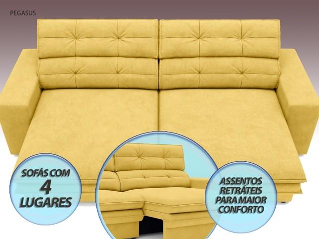 Sofá Pegasus 2,30m Assento Retrátil e Reclinável Velosuede Canário - NETSOFAS