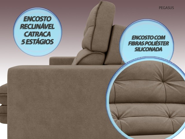 Sofá Pegasus 2,30m Assento Retrátil e Reclinável Velosuede Capuccino - NETSOFAS