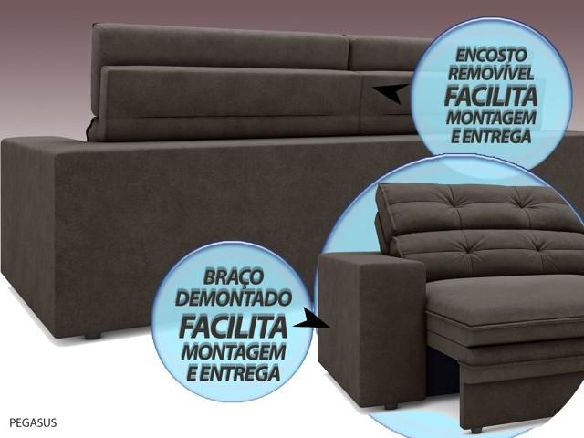 Sofá Pegasus 2,30m Assento Retrátil e Reclinável Velosuede Chocolate - NETSOFAS