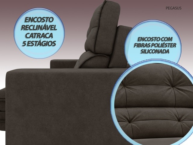 Sofá Pegasus 2,30m Assento Retrátil e Reclinável Velosuede Chocolate - NETSOFAS  - NETSOFÁS