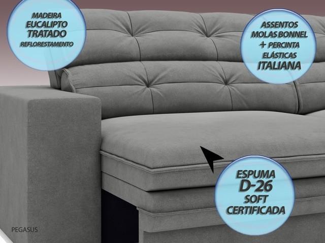 Sofá Pegasus 2,30m Assento Retrátil e Reclinável Velosuede Grafite - NETSOFAS  - NETSOFÁS