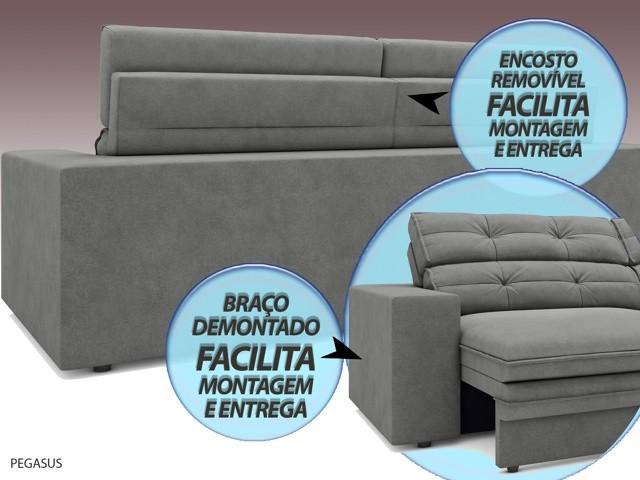 Sofá Pegasus 2,30m Assento Retrátil e Reclinável Velosuede Grafite - NETSOFAS