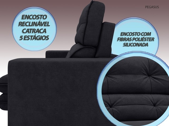 Sofá Pegasus 2,30m Assento Retrátil e Reclinável Velosuede Preto - NETSOFAS  - NETSOFÁS
