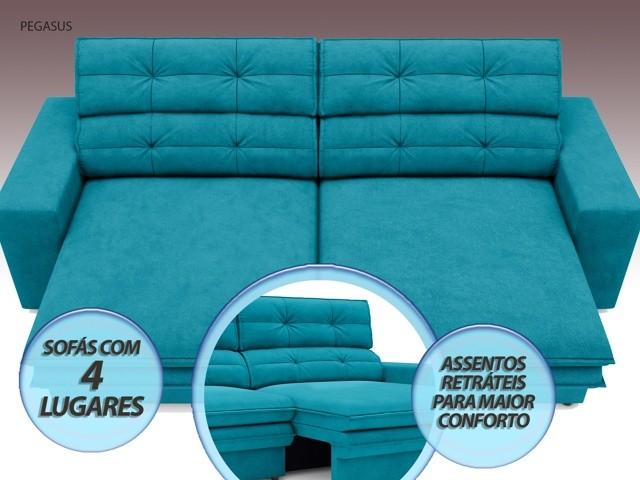 Sofá Pegasus 2,30m Assento Retrátil e Reclinável Velosuede Turquesa - NETSOFAS  - NETSOFÁS