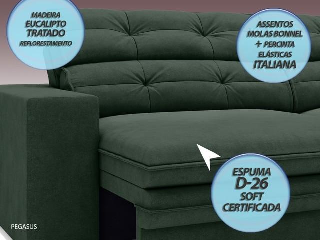 Sofá Pegasus 2,30m Assento Retrátil e Reclinável Velosuede Verde - NETSOFAS  - NETSOFÁS