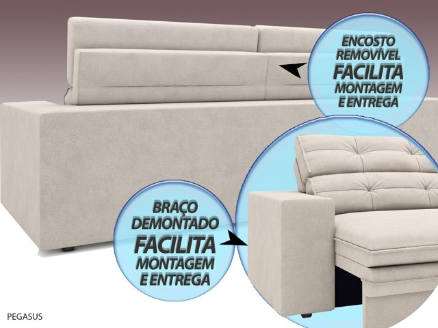Sofá Pegasus 2,50m Assento Retrátil e Reclinável Velosuede Areia - NETSOFAS