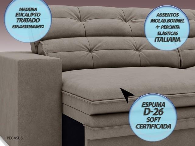 Sofá Pegasus 2,50m Assento Retrátil e Reclinável Velosuede Bege - NETSOFAS