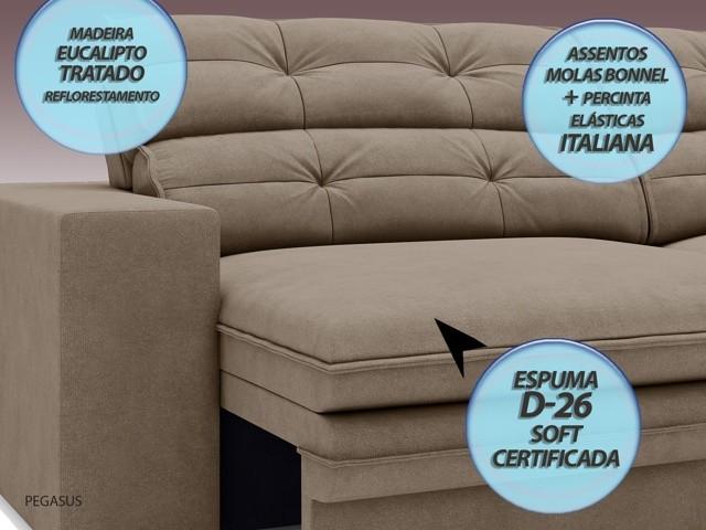 Sofá Pegasus 2,50m Assento Retrátil e Reclinável Velosuede Capuccino - NETSOFAS