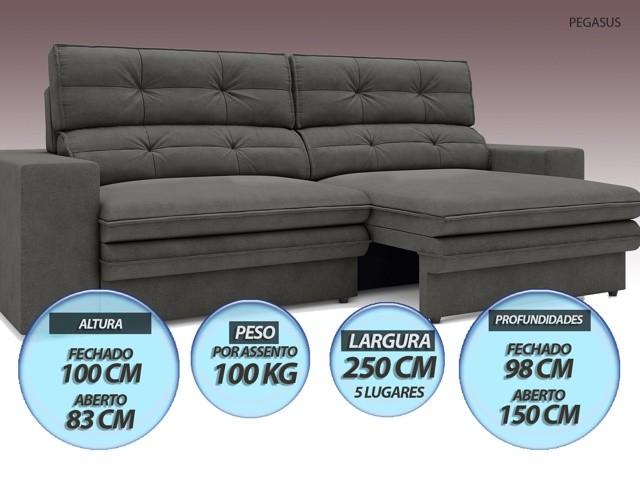 Sofá Pegasus 2,50m Assento Retrátil e Reclinável Velosuede Cinza - NETSOFAS
