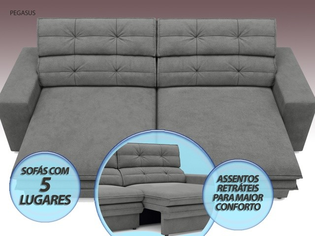 Sofá Pegasus 2,50m Assento Retrátil e Reclinável Velosuede Grafite - NETSOFAS  - NETSOFÁS