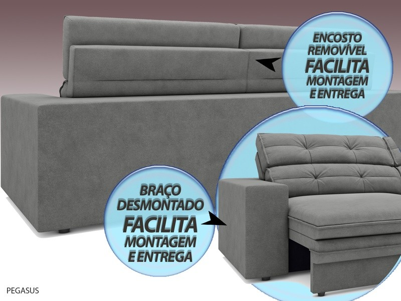 Sofá Pegasus 2,50m Assento Retrátil e Reclinável Velosuede Grafite - NETSOFAS