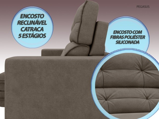 Sofá Pegasus 2,50m Assento Retrátil e Reclinável Velosuede Marrom - NETSOFAS  - NETSOFÁS