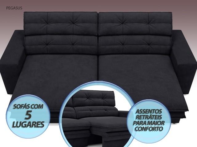 Sofá Pegasus 2,50m Assento Retrátil e Reclinável Velosuede Preto - NETSOFAS