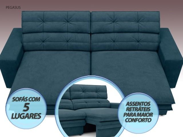 Sofá Pegasus 2,50m Assento Retrátil e Reclinável Velosuede Royal - NETSOFAS