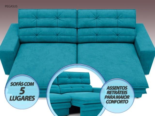 Sofá Pegasus 2,50m Assento Retrátil e Reclinável Velosuede Turquesa - NETSOFAS