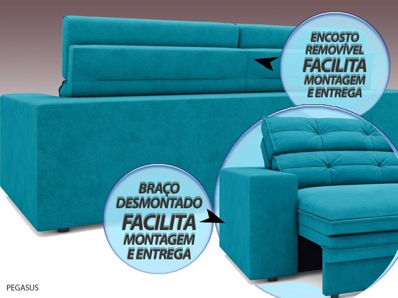 Sofá Pegasus 2,50m Assento Retrátil e Reclinável Velosuede Turquesa - NETSOFAS  - NETSOFÁS