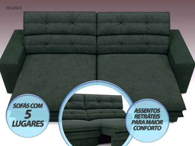 Sofá Pegasus 2,50m Assento Retrátil e Reclinável Velosuede Verde - NETSOFAS  - NETSOFÁS