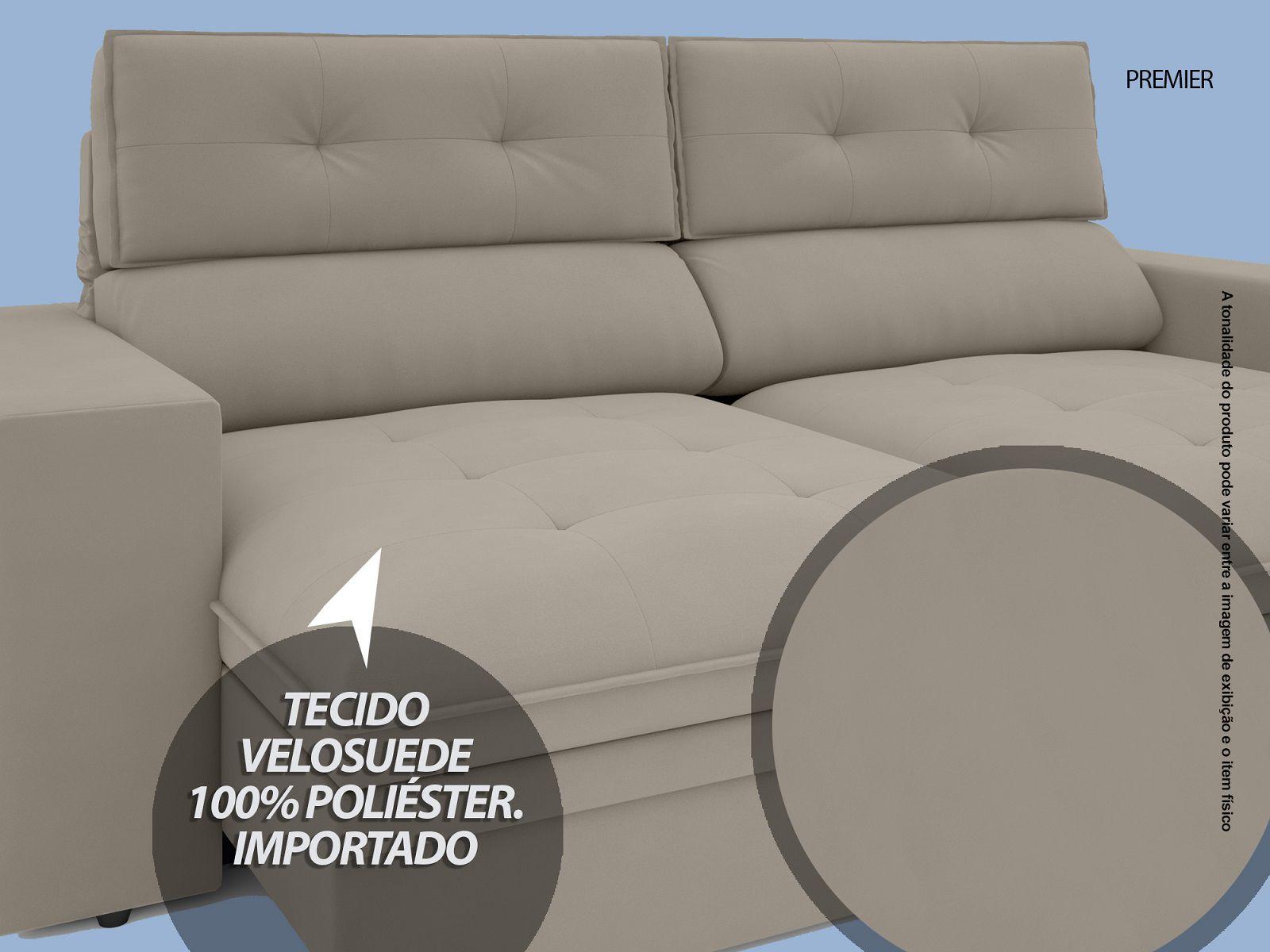 Sofá Premier 2,23m Retrátil e Reclinável Com Baú Velosuede Areia - NETSOFAS