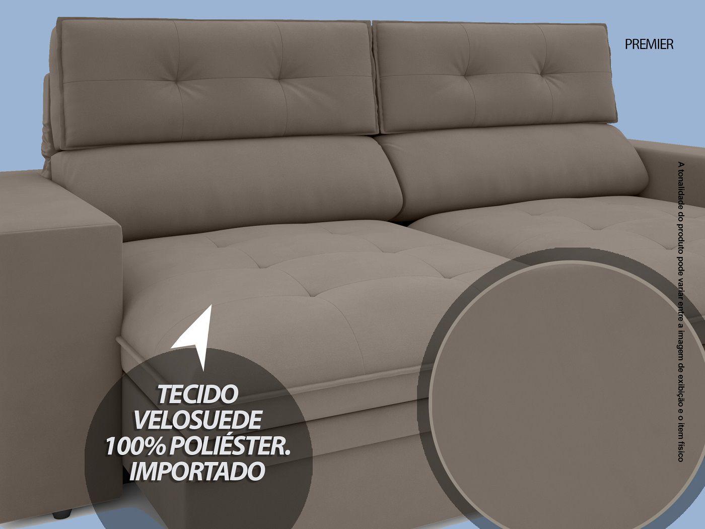 Sofá Premier 2,23m Retrátil e Reclinável Com Baú Velosuede Bege - NETSOFAS