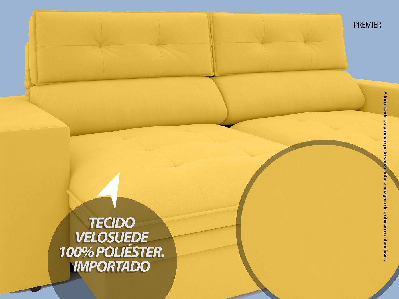 Sofá Premier 2,23m Retrátil e Reclinável Com Baú Velosuede Canário - NETSOFAS