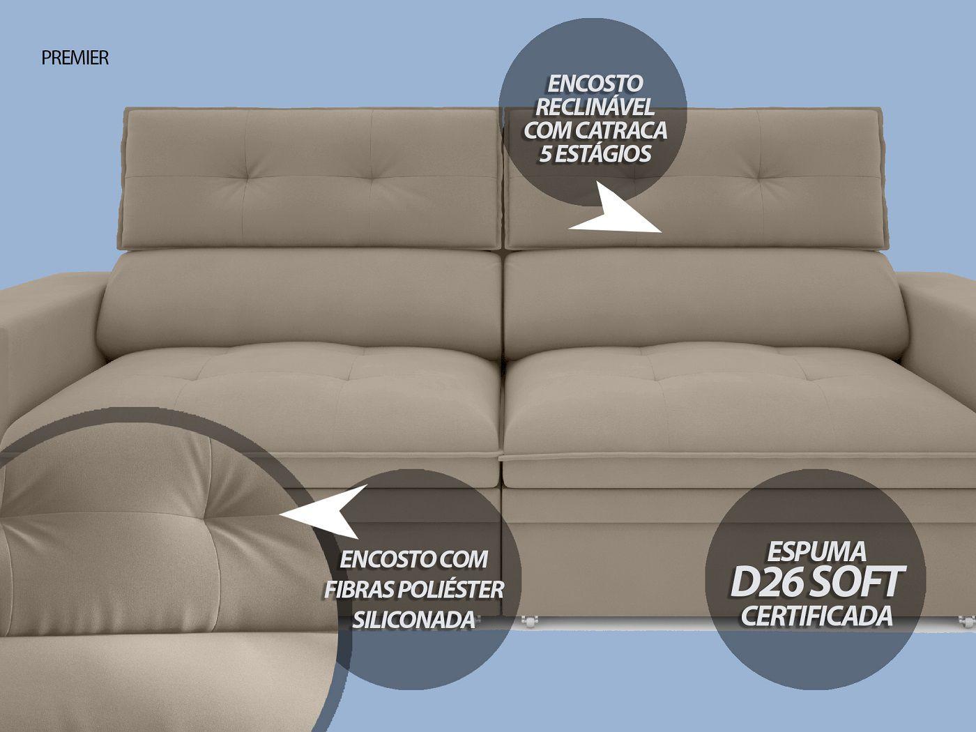 Sofá Premier 2,23m Retrátil e Reclinável Com Baú Velosuede Capuccino - NETSOFAS  - NETSOFÁS