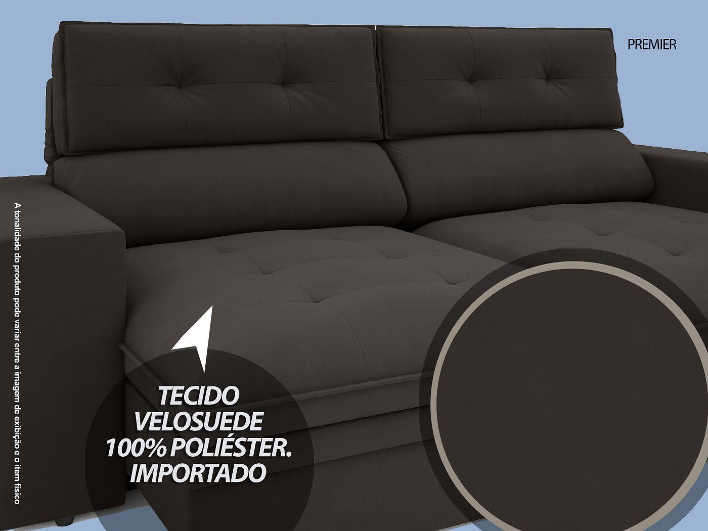 Sofá Premier 2,23m Retrátil e Reclinável Com Baú Velosuede Chocolate - NETSOFAS  - NETSOFÁS