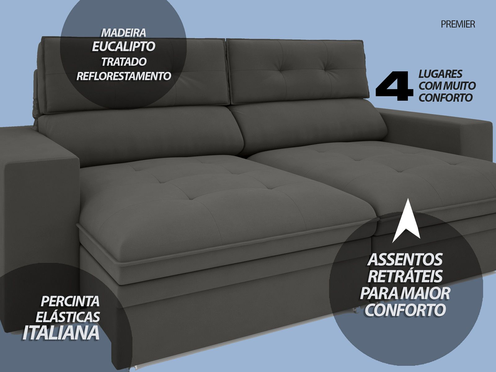 Sofá Premier 2,23m Retrátil e Reclinável Com Baú Velosuede Cinza - NETSOFAS
