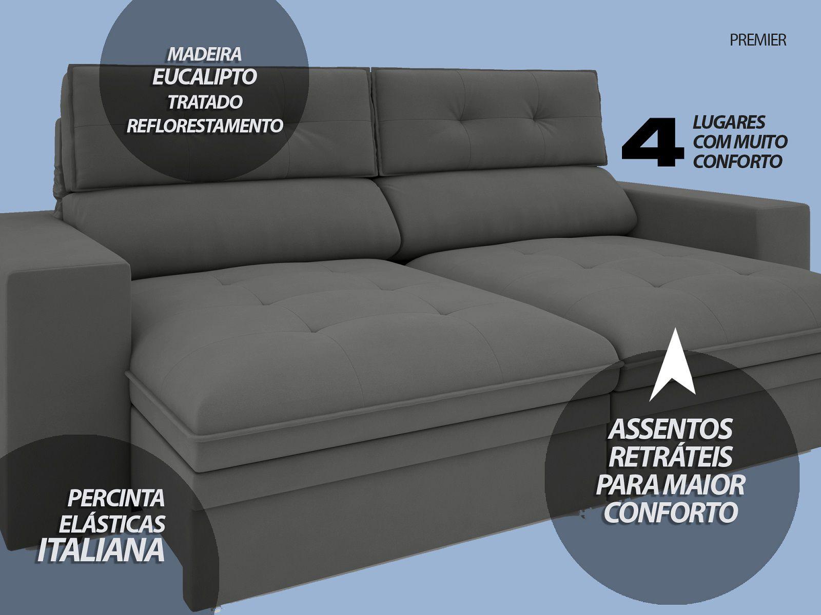 Sofá Premier 2,23m Retrátil e Reclinável Com Baú Velosuede Grafite - NETSOFAS  - NETSOFÁS