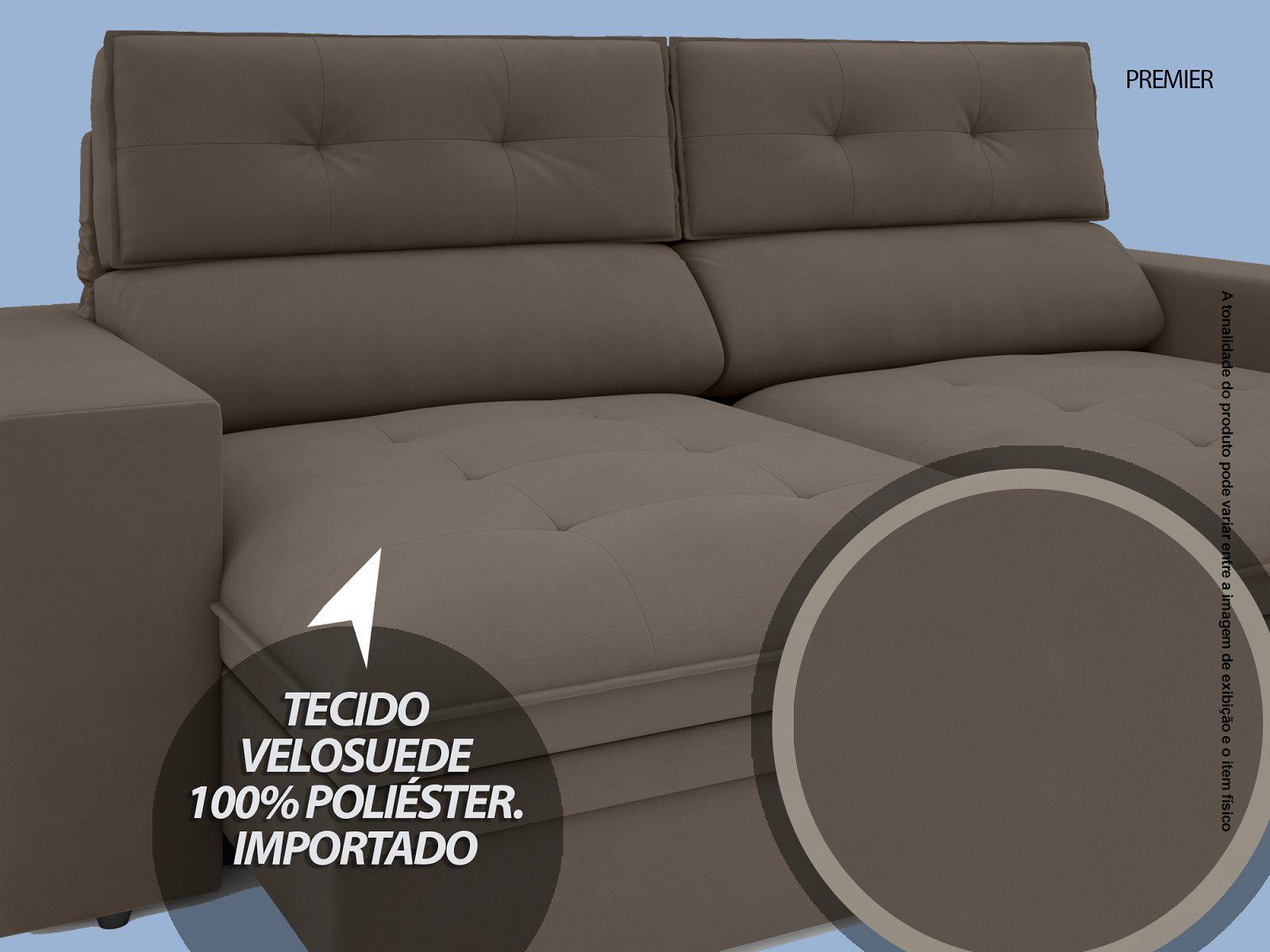 Sofá Premier 2,23m Retrátil e Reclinável Com Baú Velosuede Marrom - NETSOFAS
