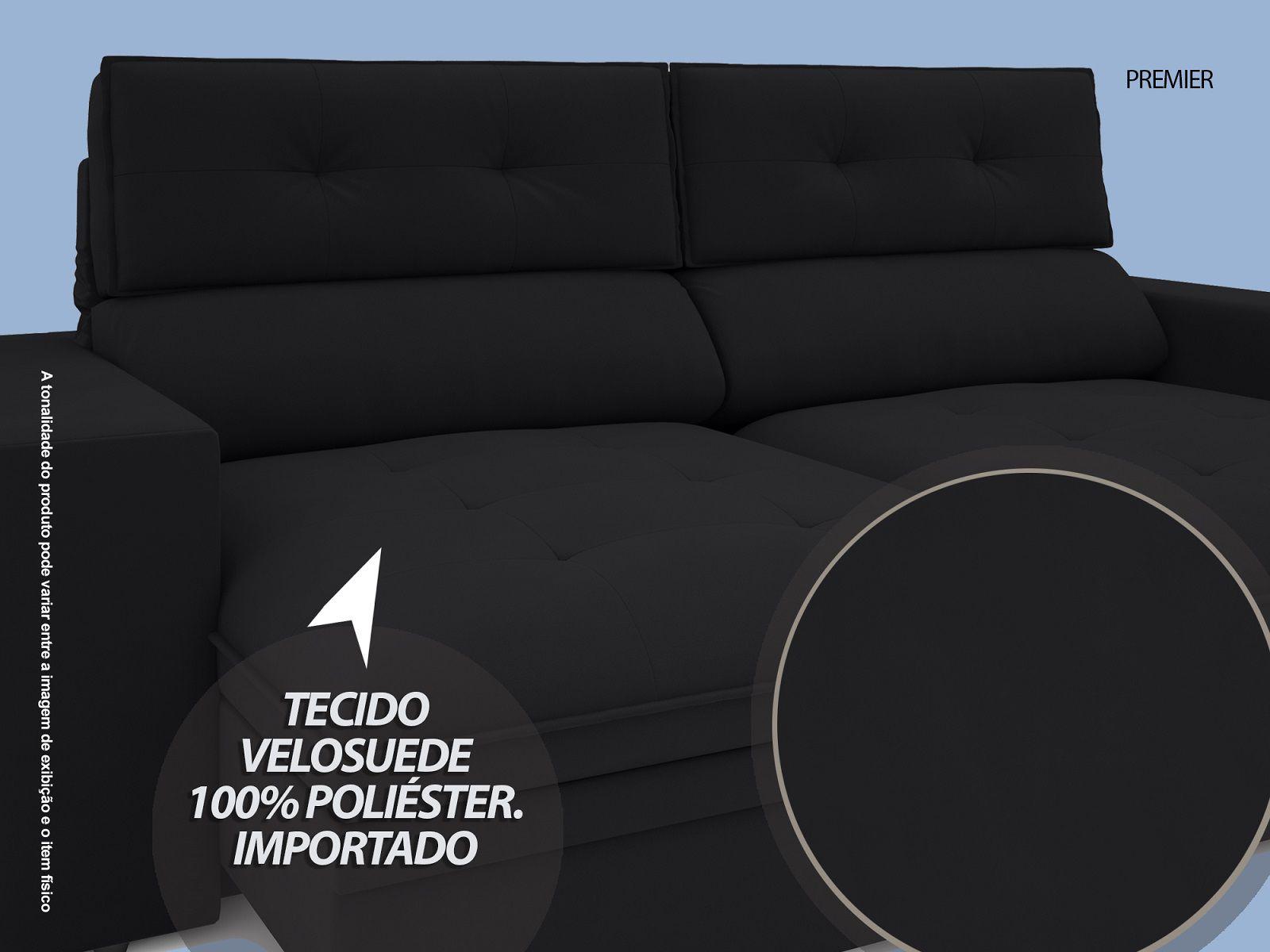 Sofá Premier 2,23m Retrátil e Reclinável Com Baú Velosuede Preto - NETSOFAS  - NETSOFÁS