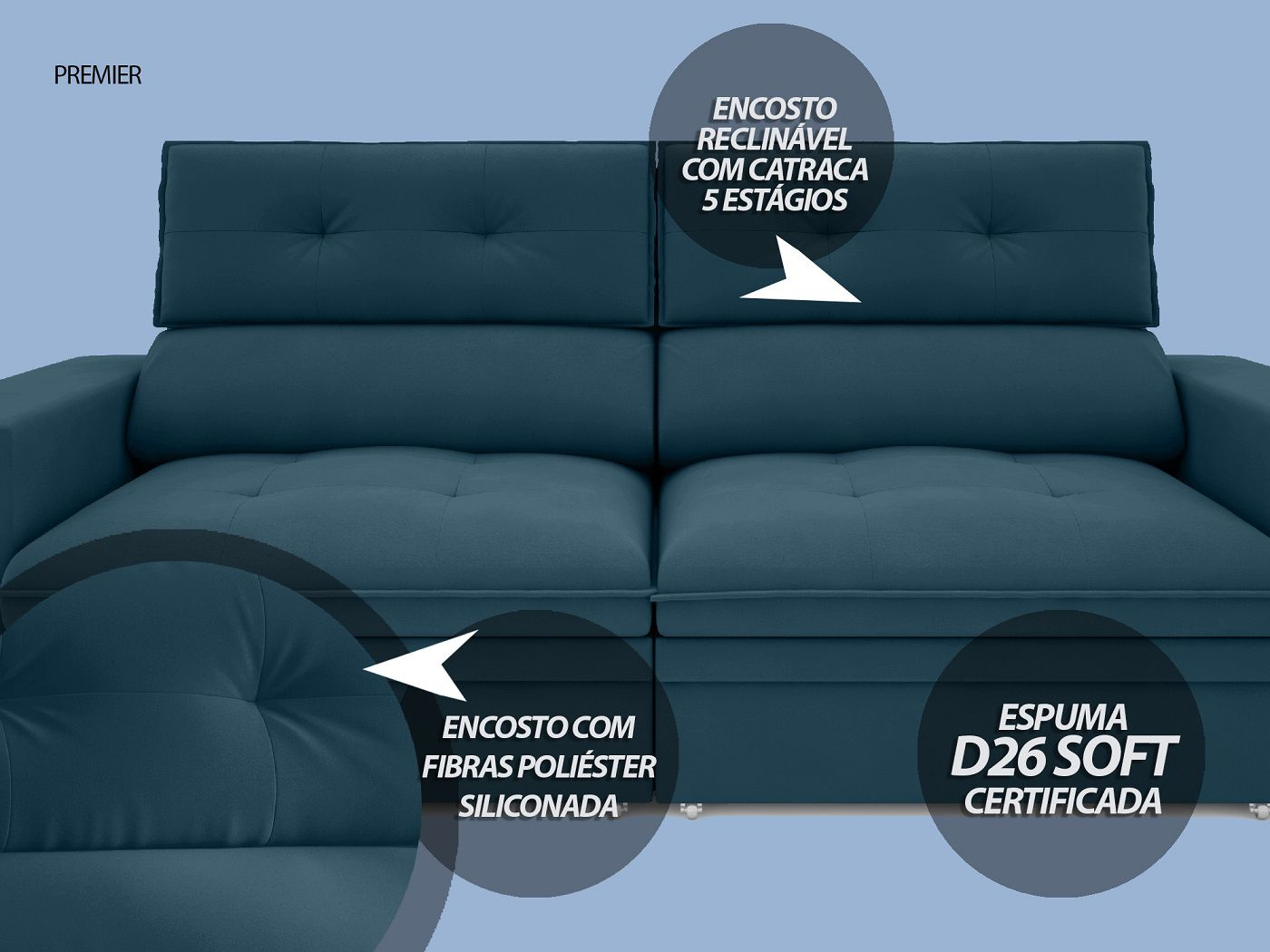 Sofá Premier 2,23m Retrátil e Reclinável Com Baú Velosuede Royal - NETSOFAS