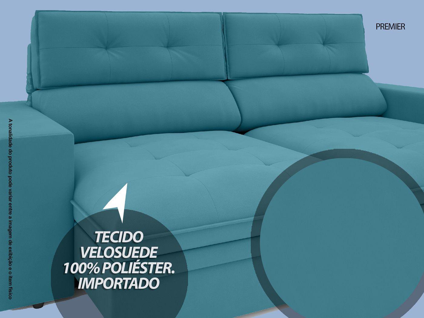 Sofá Premier 2,23m Retrátil e Reclinável Com Baú Velosuede Turquesa - NETSOFAS  - NETSOFÁS