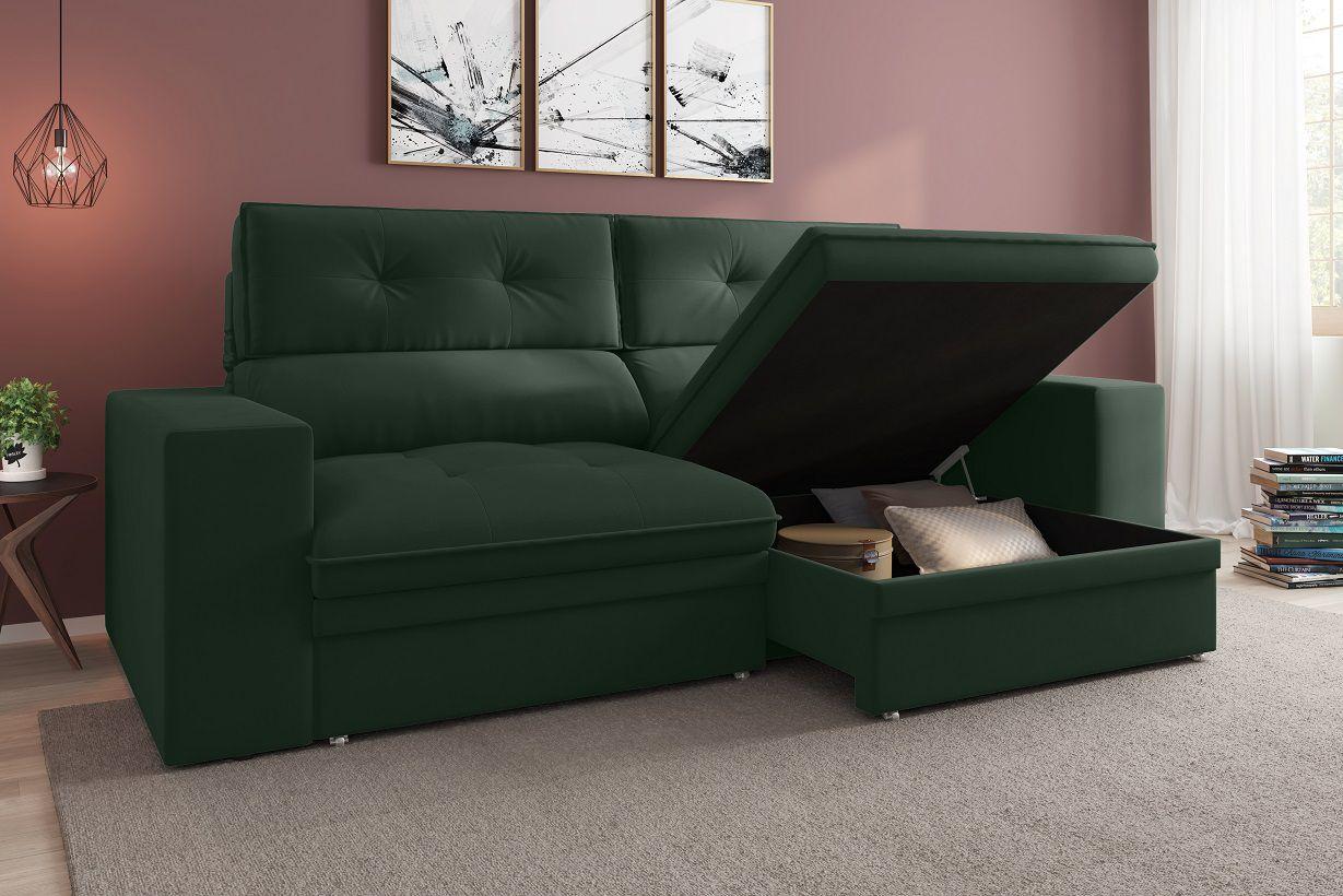 Sofá Premier 2,23m Retrátil e Reclinável Com Baú Velosuede Verde - NETSOFAS