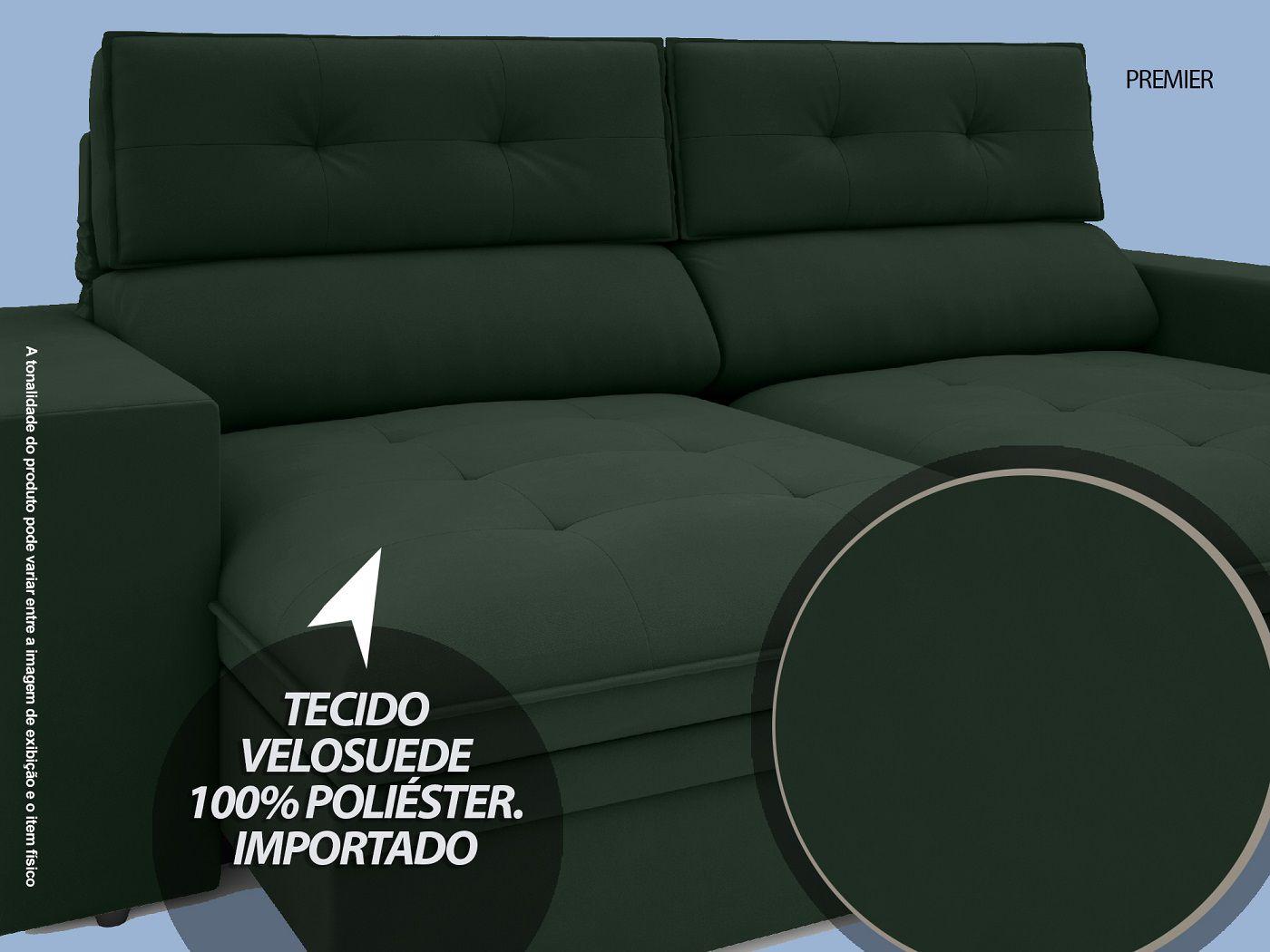 Sofá Premier 2,23m Retrátil e Reclinável Com Baú Velosuede Verde - NETSOFAS  - NETSOFÁS