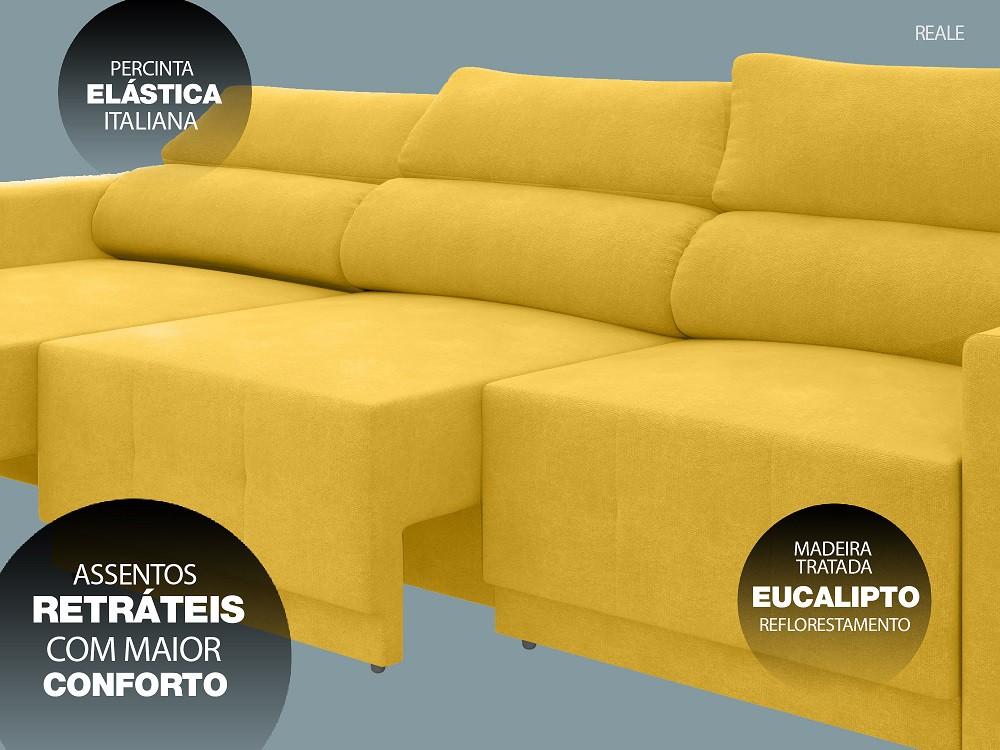 Sofá Reale 2,85m Assento Retrátil e Reclinável Velosuede Canário - NETSOFAS  - NETSOFÁS