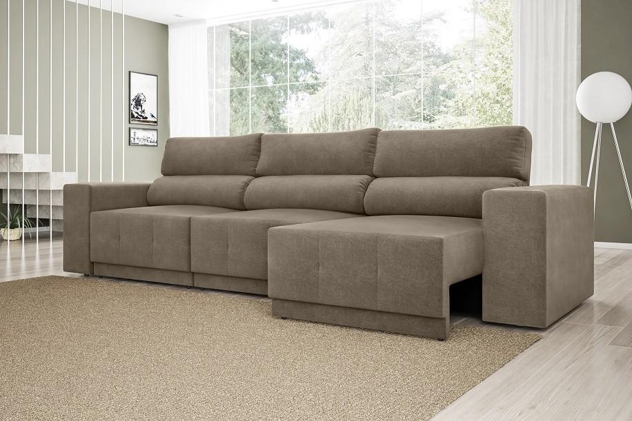Sofá Reale 2,85m Assento Retrátil e Reclinável Velosuede Capuccino - NETSOFAS