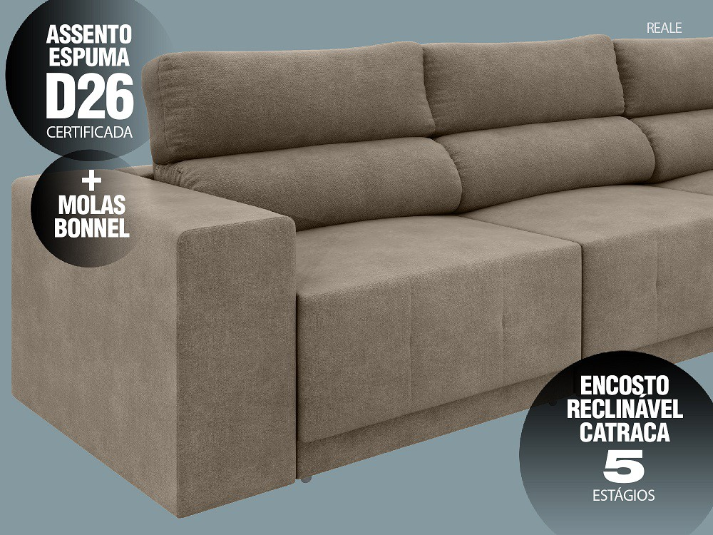 Sofá Reale 2,85m Assento Retrátil e Reclinável Velosuede Capuccino - NETSOFAS  - NETSOFÁS