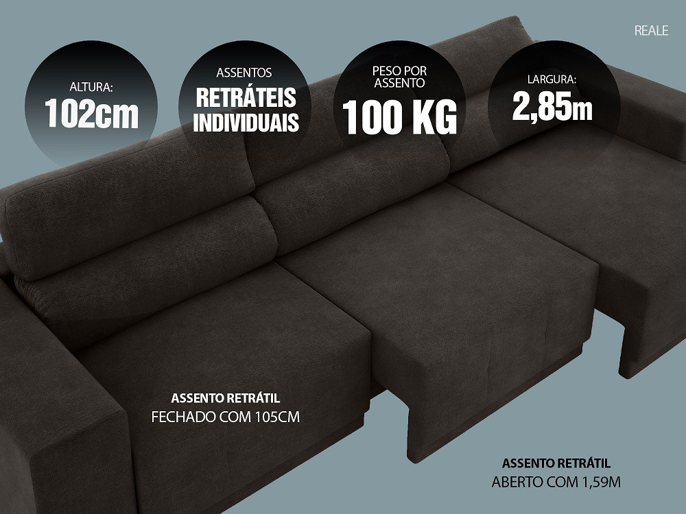 Sofá Reale 2,85m Assento Retrátil e Reclinável Velosuede Chocolate - NETSOFAS  - NETSOFÁS