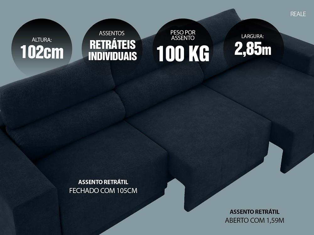 Sofá Reale 2,85m Assento Retrátil e Reclinável Velosuede Petróleo - NETSOFAS