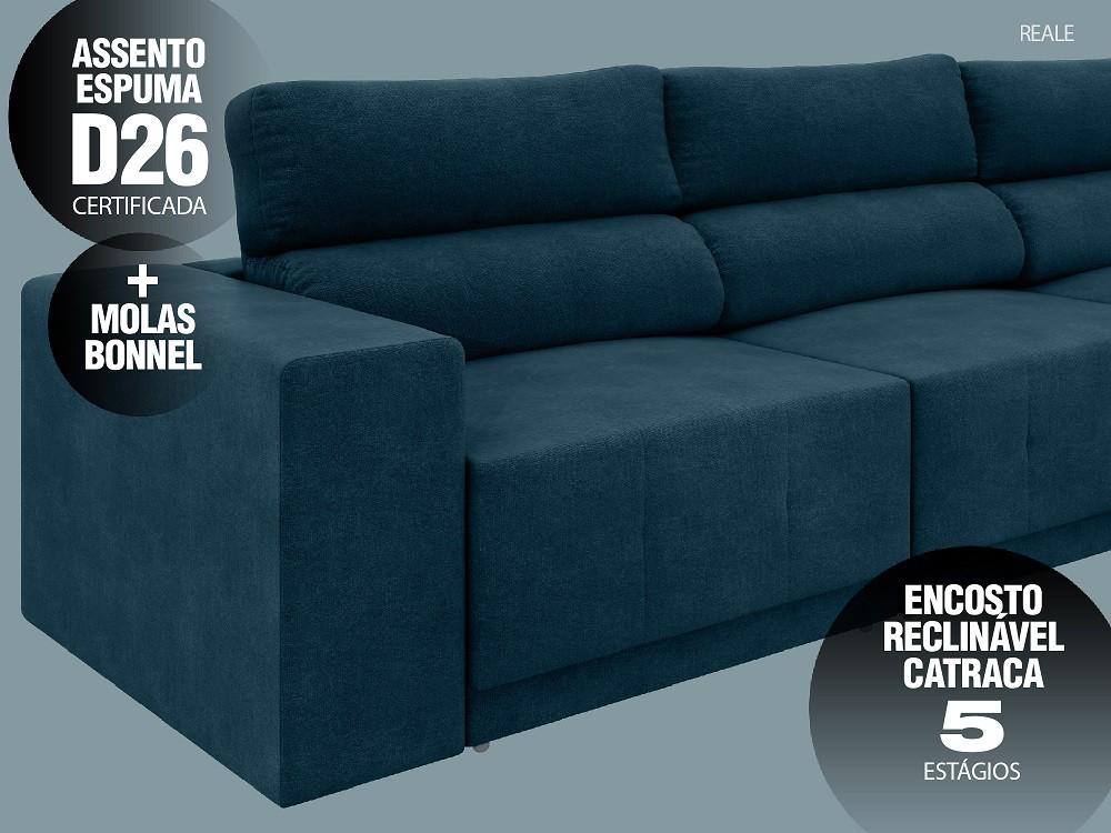 Sofá Reale 2,85m Assento Retrátil e Reclinável Velosuede Royal - NETSOFAS  - NETSOFÁS
