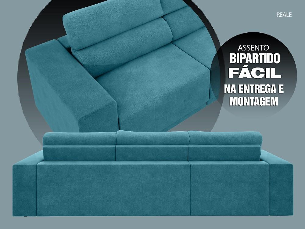 Sofá Reale 2,85m Assento Retrátil e Reclinável Velosuede Turquesa - NETSOFAS  - NETSOFÁS