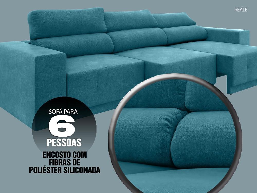 Sofá Reale 2,85m Assento Retrátil e Reclinável Velosuede Turquesa - NETSOFAS