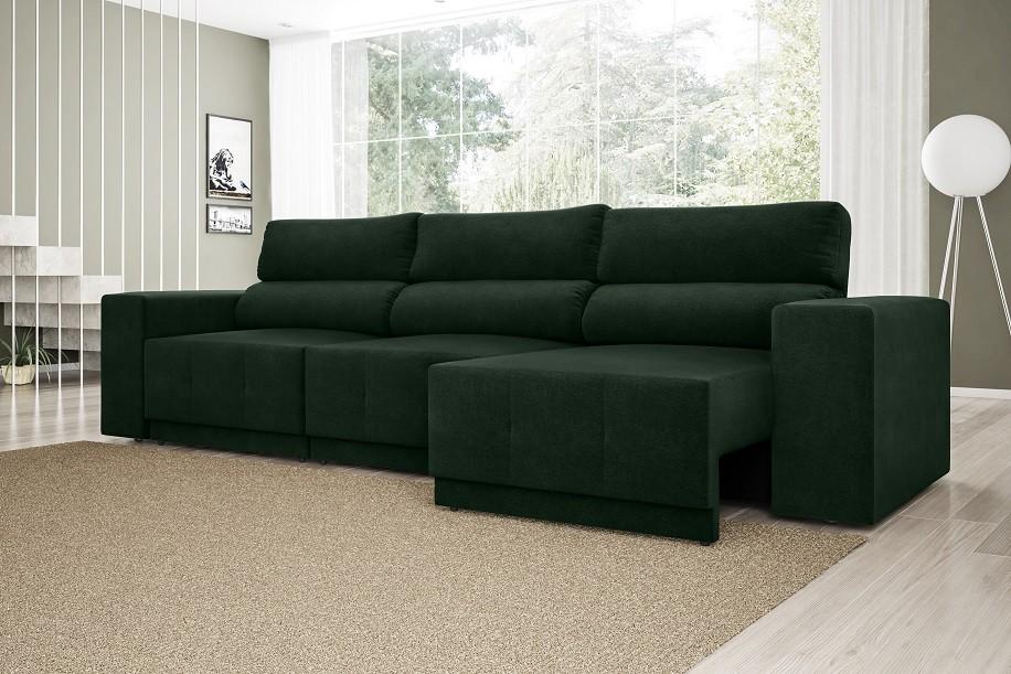 Sofá Reale 2,85m Assento Retrátil e Reclinável Velosuede Verde - NETSOFAS