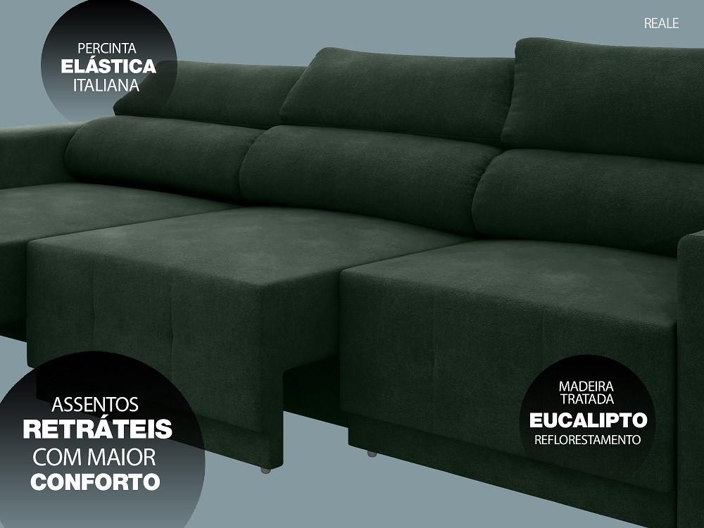 Sofá Reale 2,85m Assento Retrátil e Reclinável Velosuede Verde - NETSOFAS  - NETSOFÁS