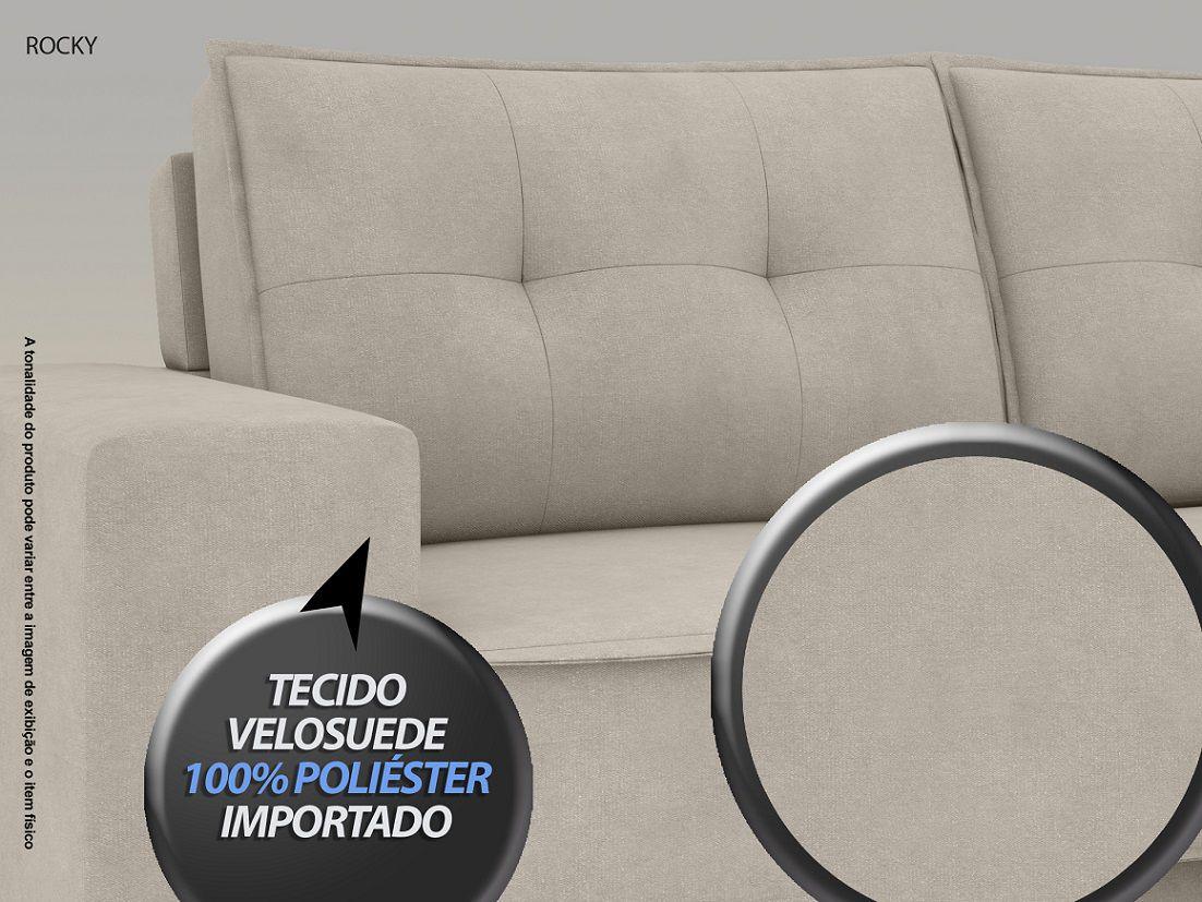 Sofá Rocky 2,01m Assento Retrátil e Reclinável Velosuede Areia - NETSOFAS  - NETSOFÁS