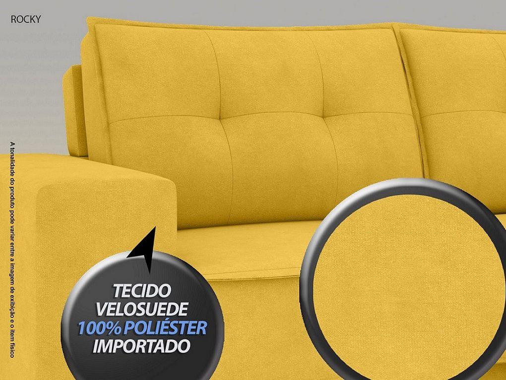 Sofá Rocky  2,01m Assento Retrátil e Reclinável Velosuede Canario - NETSOFAS