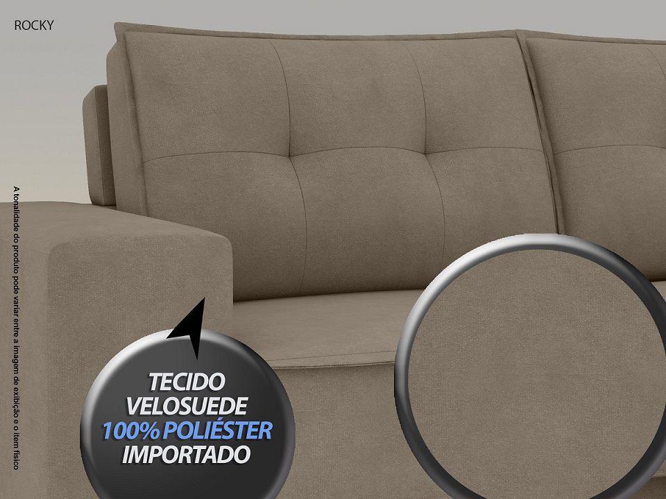Sofá Rocky  2,01m Assento Retrátil e Reclinável Velosuede Capuccino - NETSOFAS  - NETSOFÁS