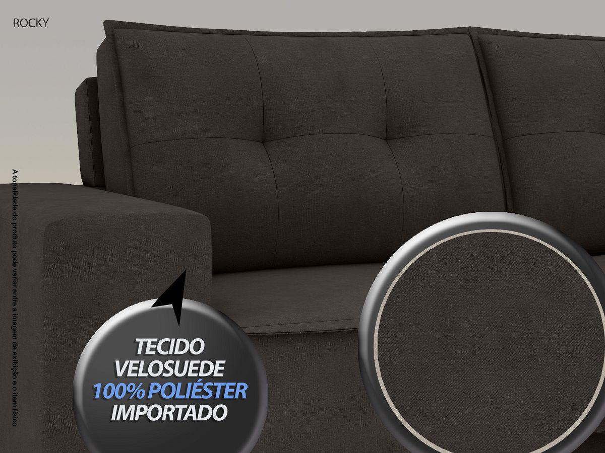 Sofá Rocky  2,01m Assento Retrátil e Reclinável Velosuede Chocolate - NETSOFAS