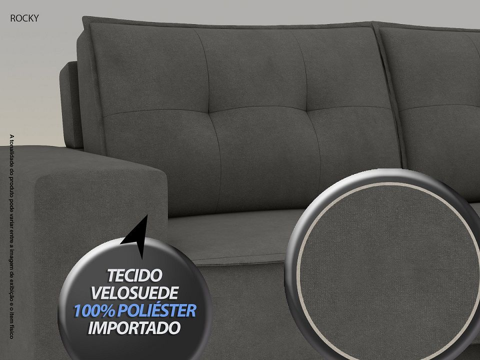 Sofá Rocky  2,01m Assento Retrátil e Reclinável Velosuede Cinza - NETSOFAS